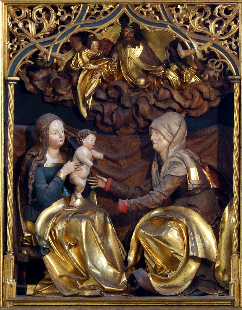 Annenaltar Mittelschrein, Hauptgruppe Anna-Selbdritt und Himmel mit Gottvater und Engeln