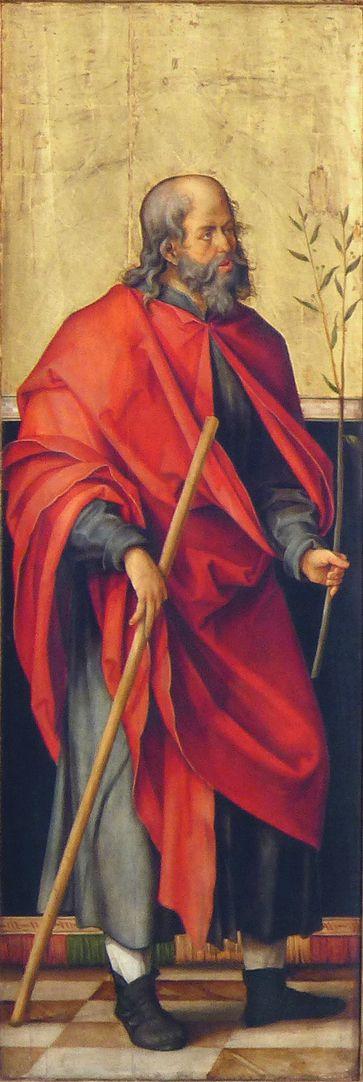 Annenaltar linker Schreinflügel, Joseph mit Wanderstab und Zweig