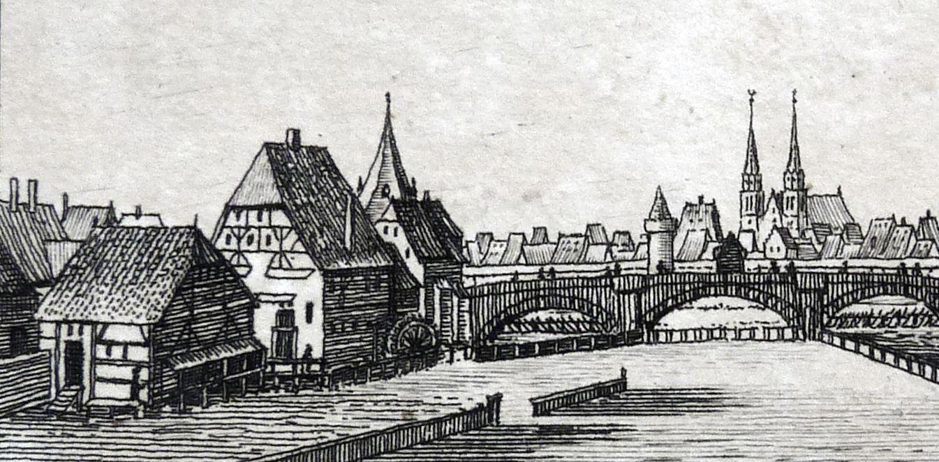 Aussicht vom Trutensteg Negeleinsmühle und steinerne Brücke