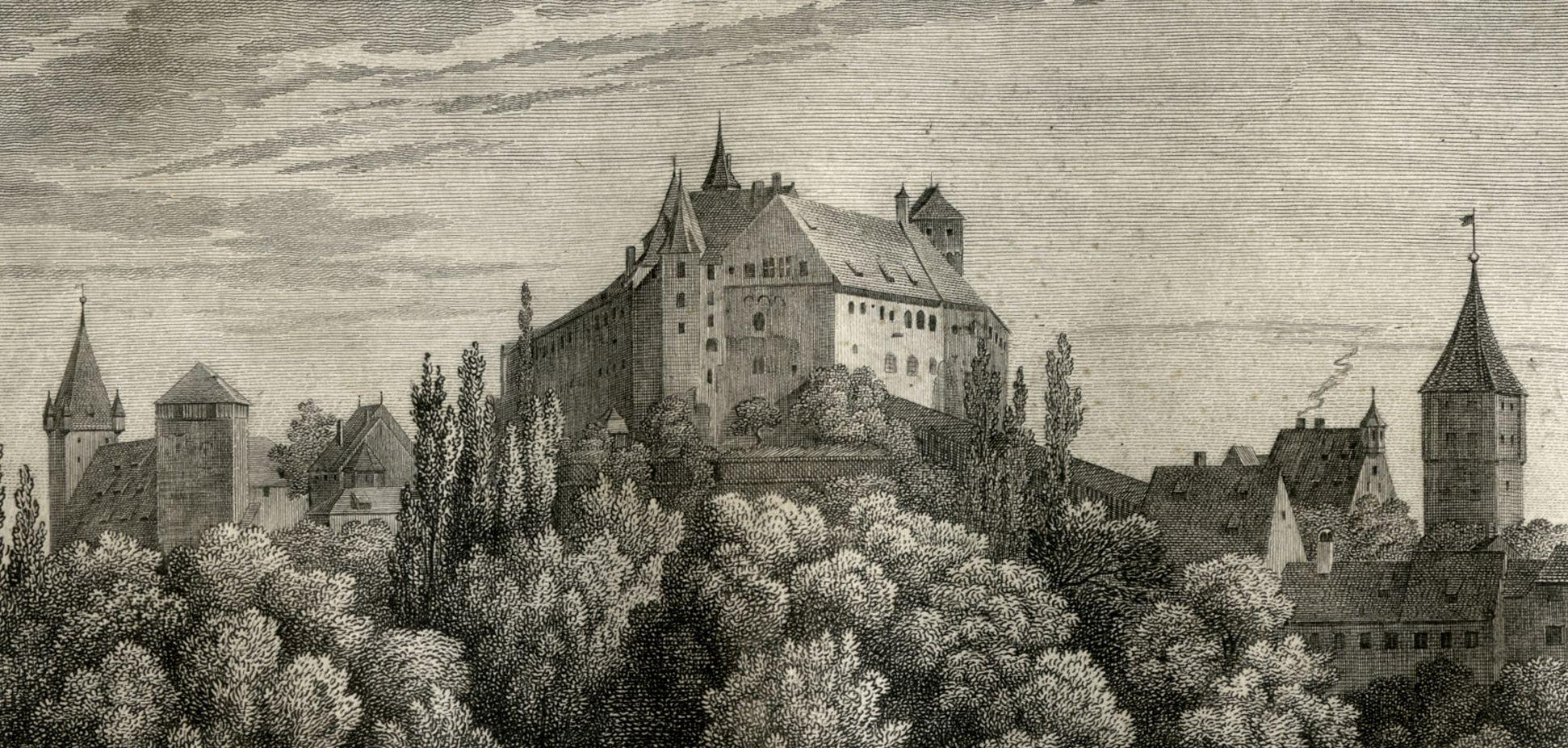 Ansicht der Burg zu Nürnberg obere Bildhälfte