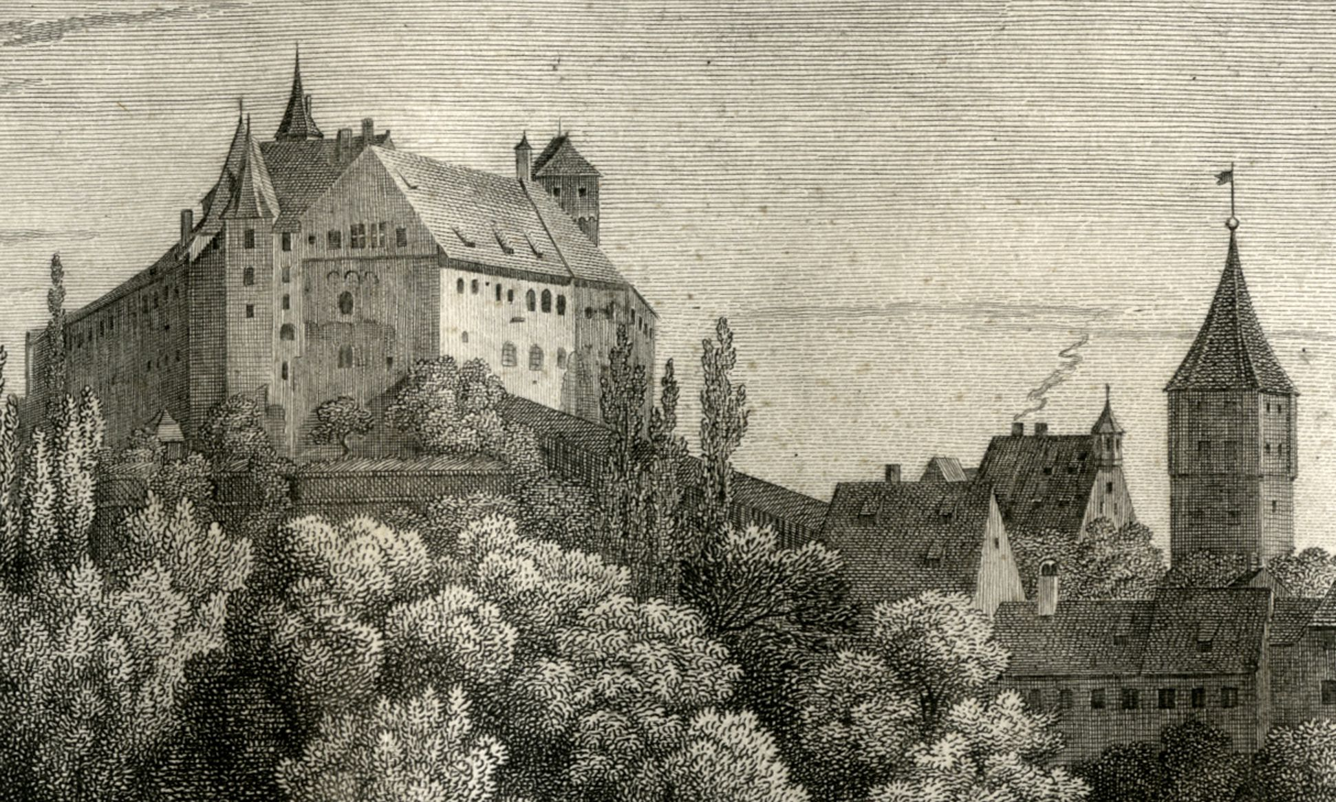 Ansicht der Burg zu Nürnberg Burg, Pilatushaus und Tiergärtnertorturm