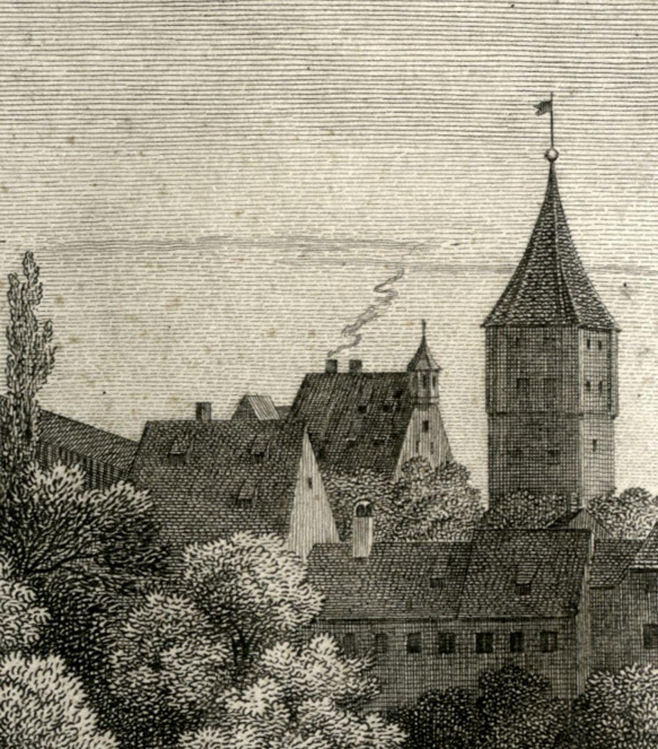 Ansicht der Burg zu Nürnberg Detail mit Pilatushaus und Tiergärtnertorturm