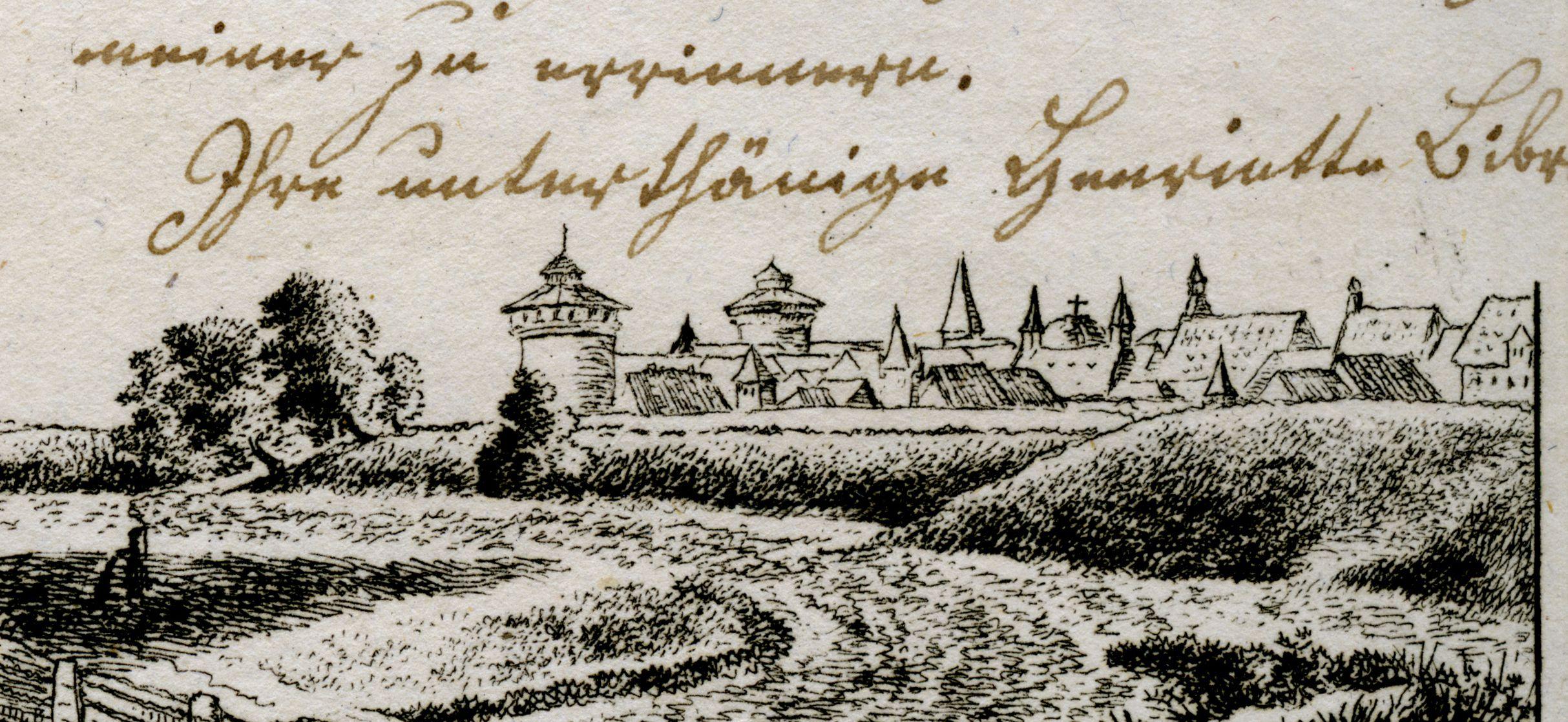 Ansicht des Peters Detail mit Stadtansicht von Nürnberg