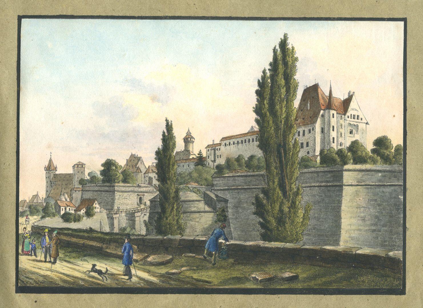 """Ansichten von Nürnberg und seinen Umgebungen """"Ansicht der Burg in Nürnberg"""""""