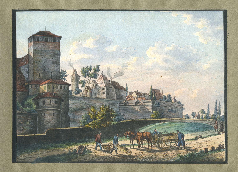 """Ansichten von Nürnberg und seinen Umgebungen """"Der fünfeckige Thurm in Nürnberg"""""""