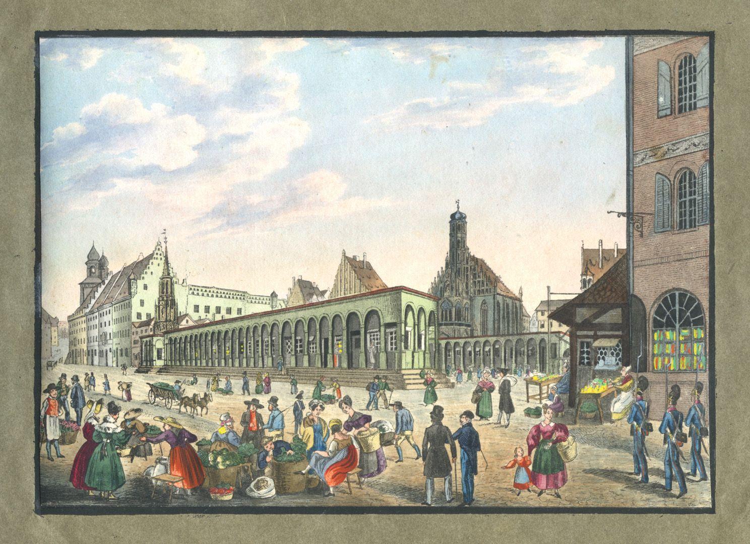 """Ansichten von Nürnberg und seinen Umgebungen """"Der Marktplatz in Nürnberg"""""""
