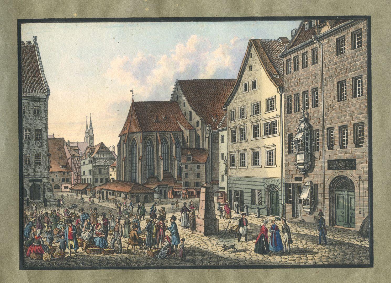 """Ansichten von Nürnberg und seinen Umgebungen """"Der Obstmarkt in Nürnberg"""""""