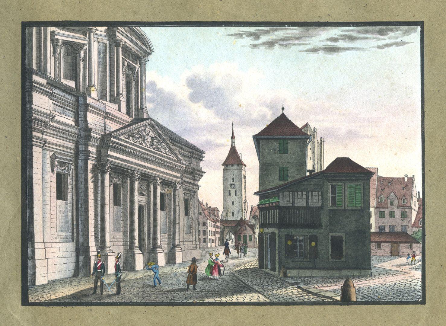 """Ansichten von Nürnberg und seinen Umgebungen """"Das Portal der deutschen Haus-Kirche in Nürnberg"""""""