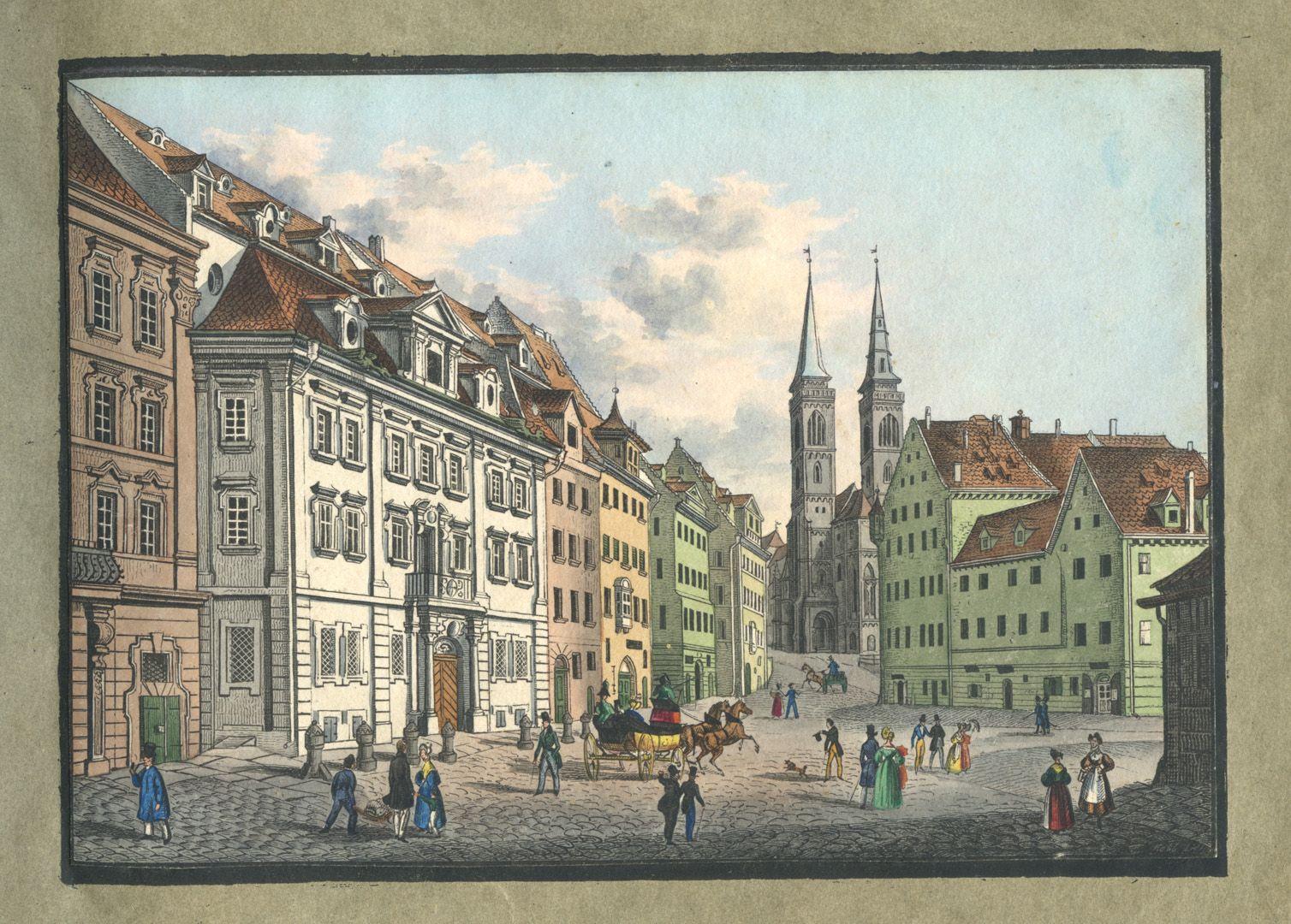 """Ansichten von Nürnberg und seinen Umgebungen """"Der Weinmarkt in Nürnberg"""""""