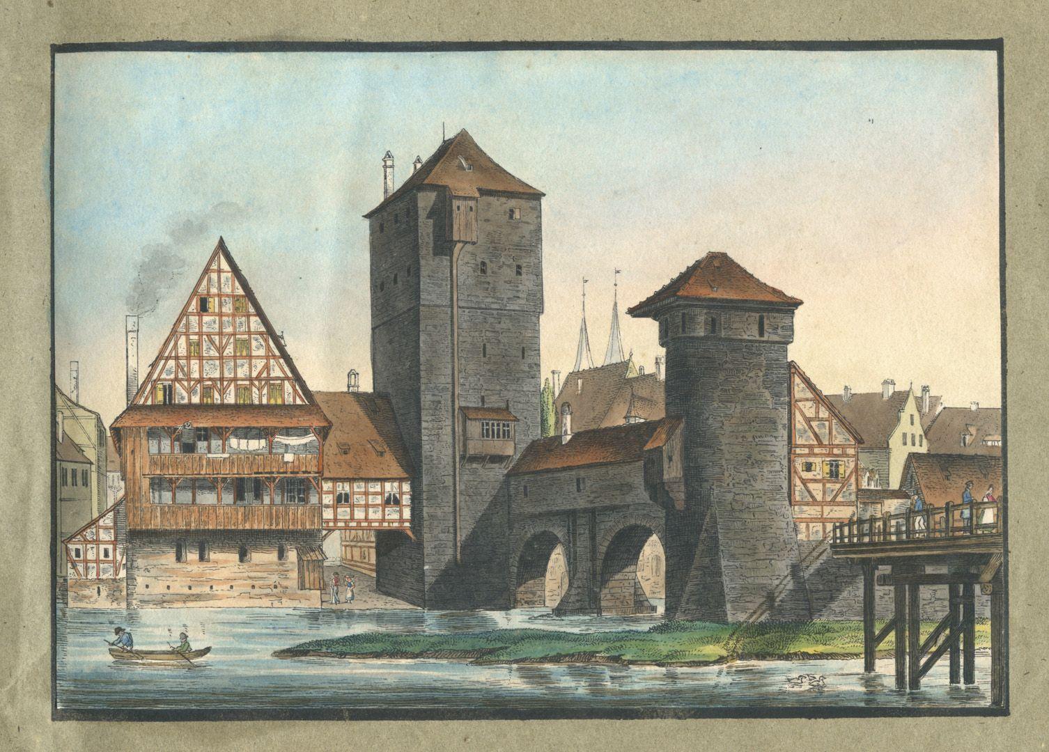 """Ansichten von Nürnberg und seinen Umgebungen """"Der Henkersteg"""""""
