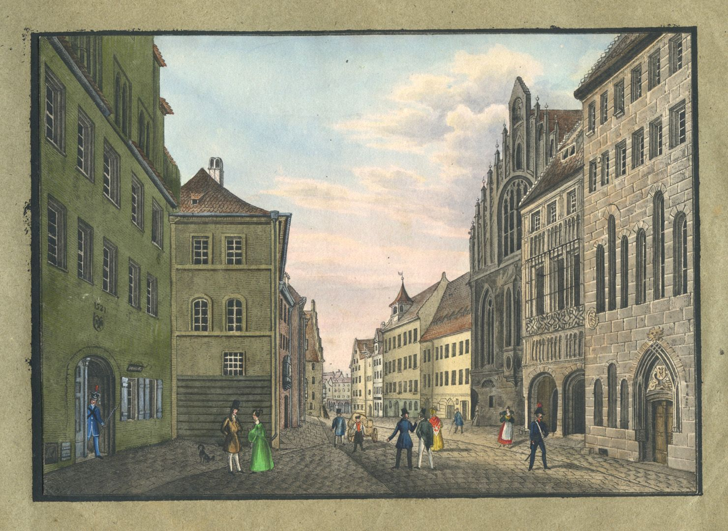"""Ansichten von Nürnberg und seinen Umgebungen """"Rathhausgasse in Nürnberg"""""""