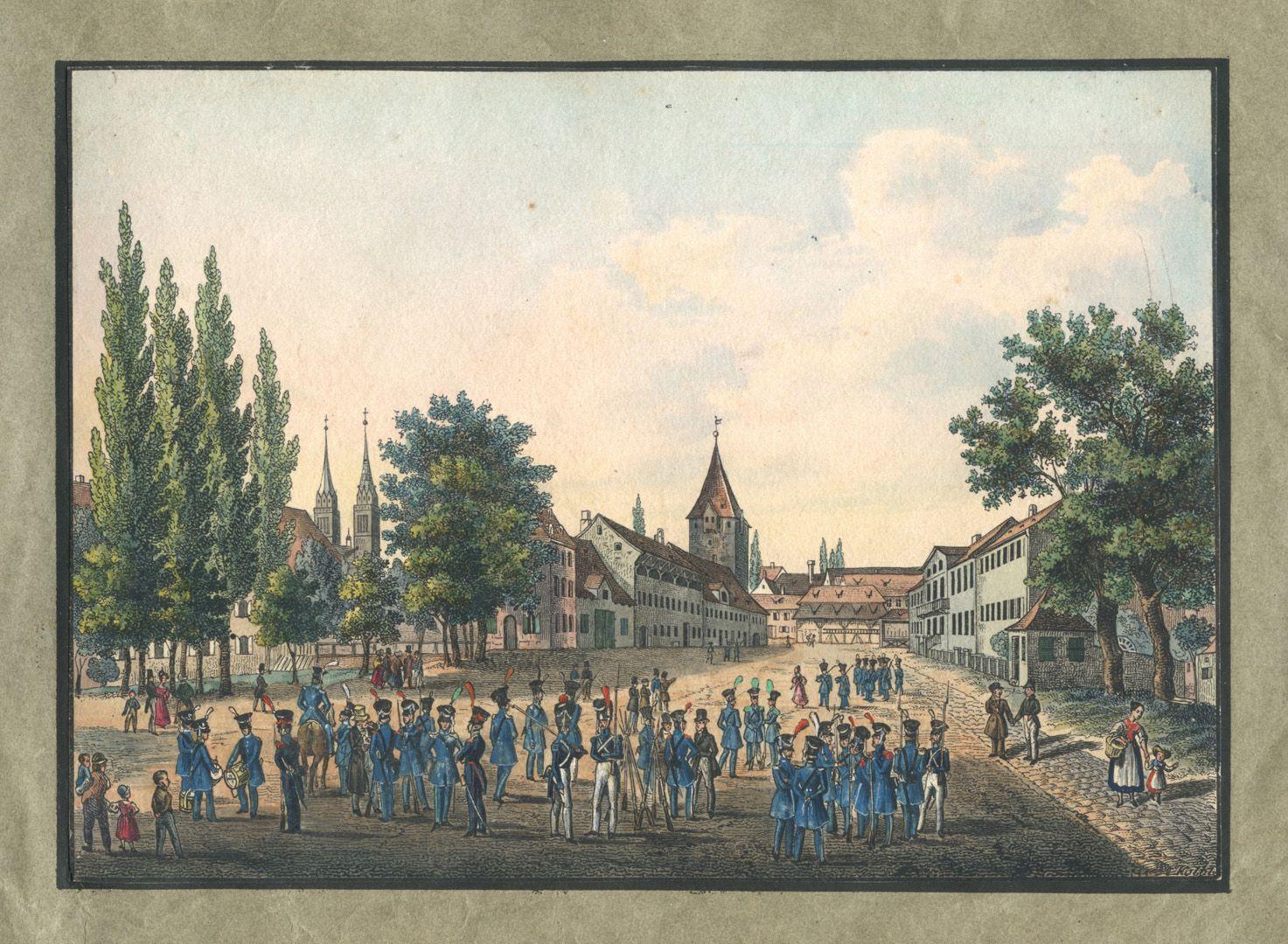 """Ansichten von Nürnberg und seinen Umgebungen """"Die Schütt in Nürnberg"""""""