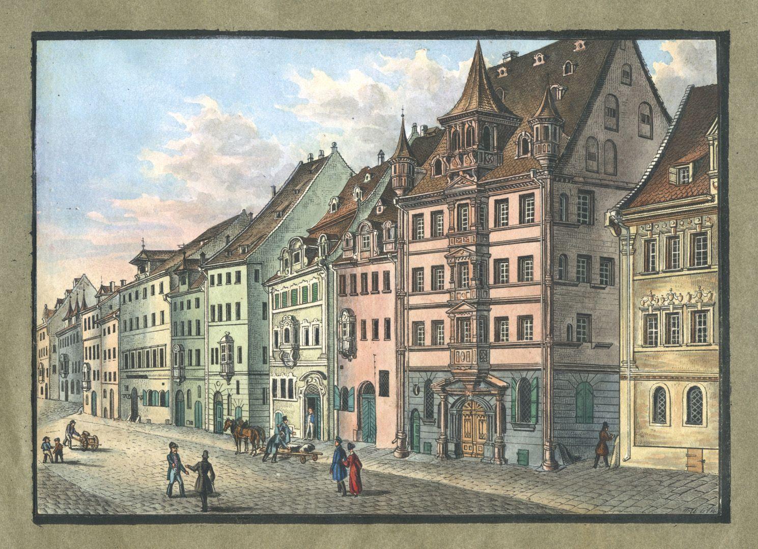 """Ansichten von Nürnberg und seinen Umgebungen """"Die Adlerstrasse in Nürnberg"""""""