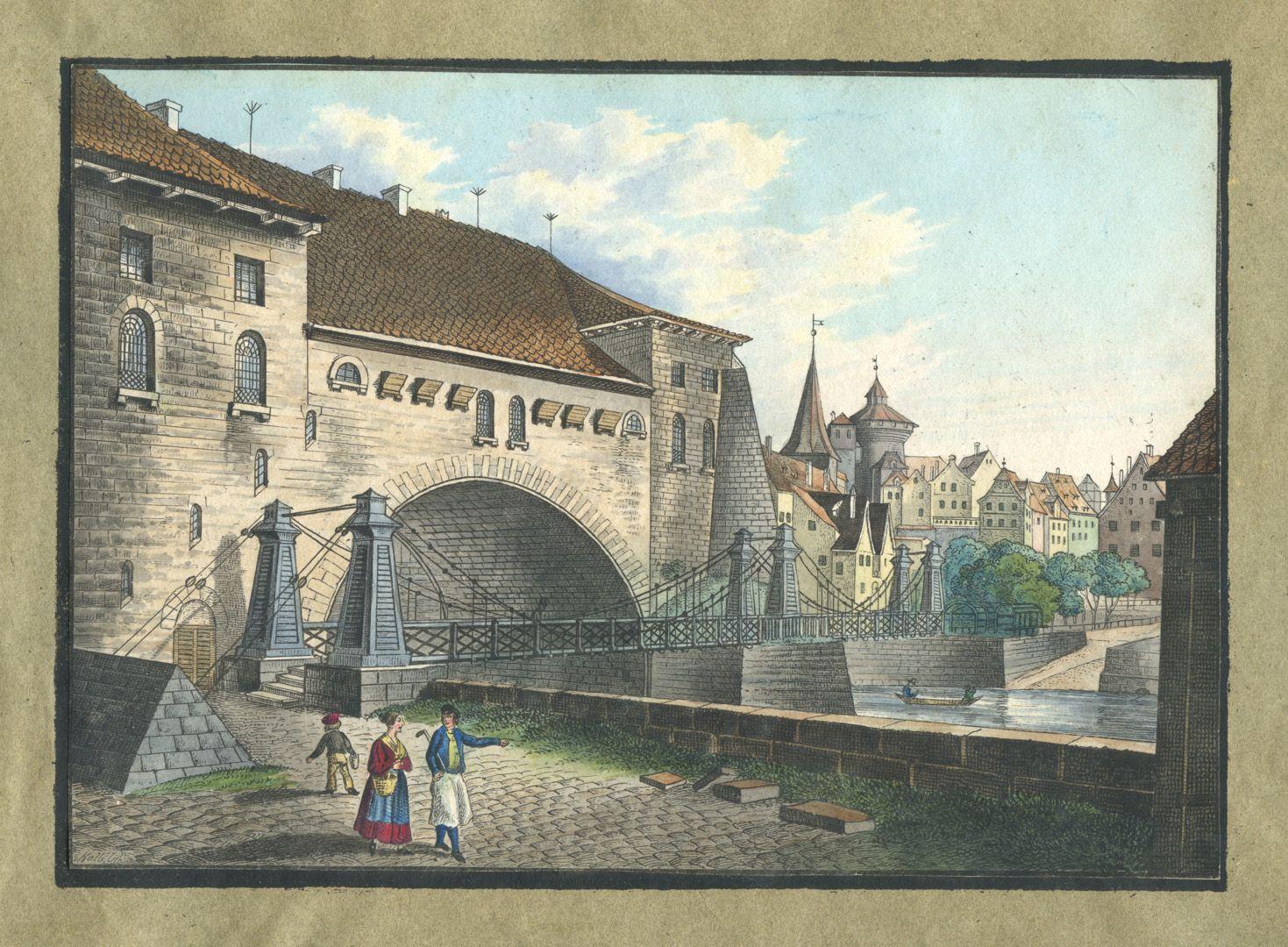 """Ansichten von Nürnberg und seinen Umgebungen """"Der Kettensteg in Nürnberg"""""""