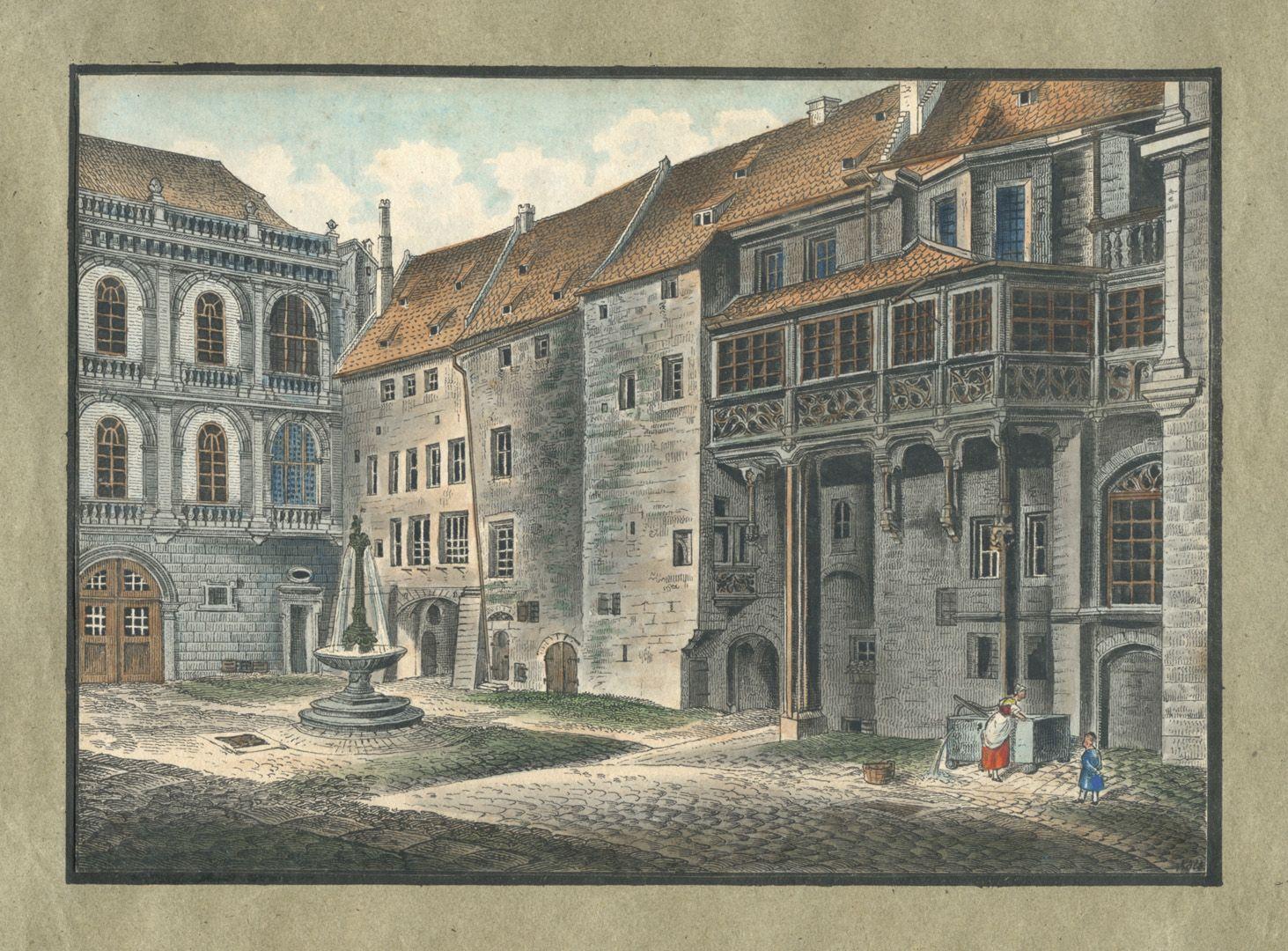 """Ansichten von Nürnberg und seinen Umgebungen """"Rathhaushof in Nürnberg"""""""