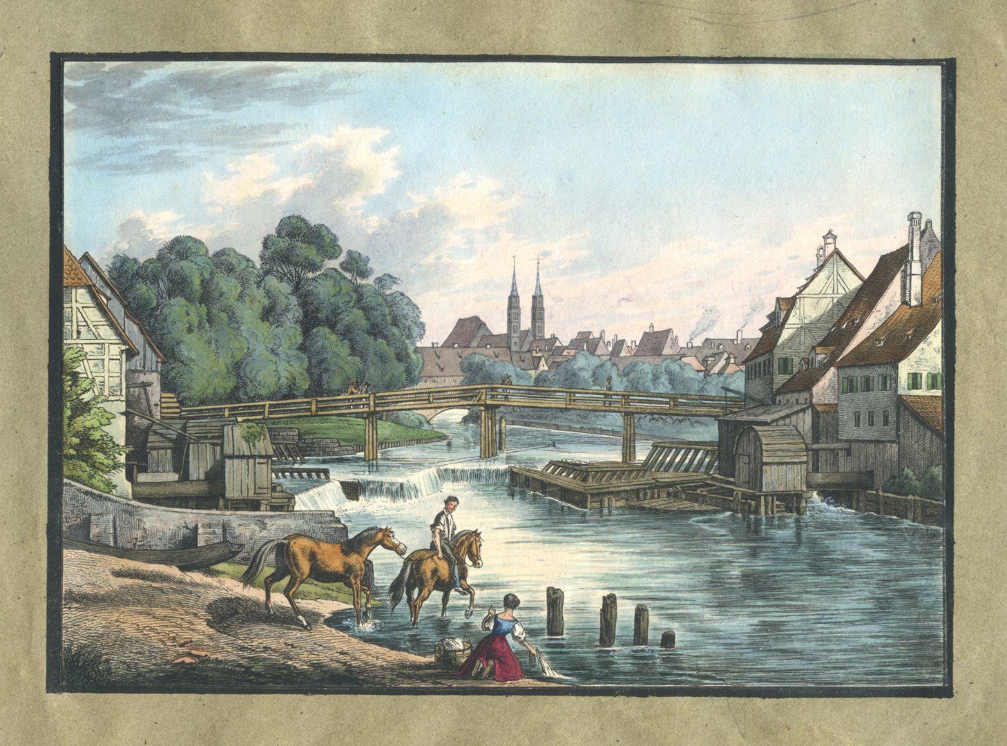 """Ansichten von Nürnberg und seinen Umgebungen """"Die Weidenmühle bei Nürnberg"""""""