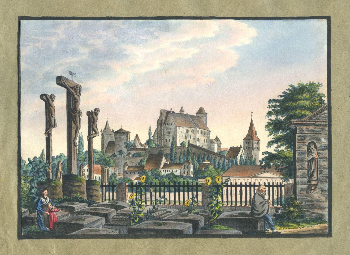 """Ansichten von Nürnberg und seinen Umgebungen """"Ansicht der Burg von Nürnberg vom St. Johannes Kirchhof"""" / Als Vorlage diente ein Stahlstich von Ernst Rauch nach einer Zeichnung von Ludwig Lange."""