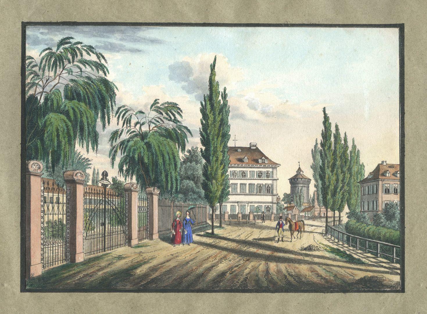 """Ansichten von Nürnberg und seinen Umgebungen """"Eingang zur Rosenau bei Nürnberg"""""""