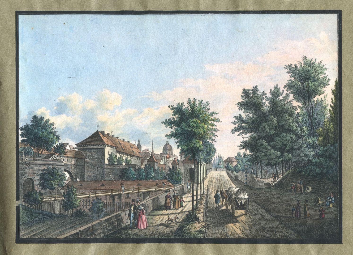 """Ansichten von Nürnberg und seinen Umgebungen """"Das Hallerthürchen in Nürnberg"""""""