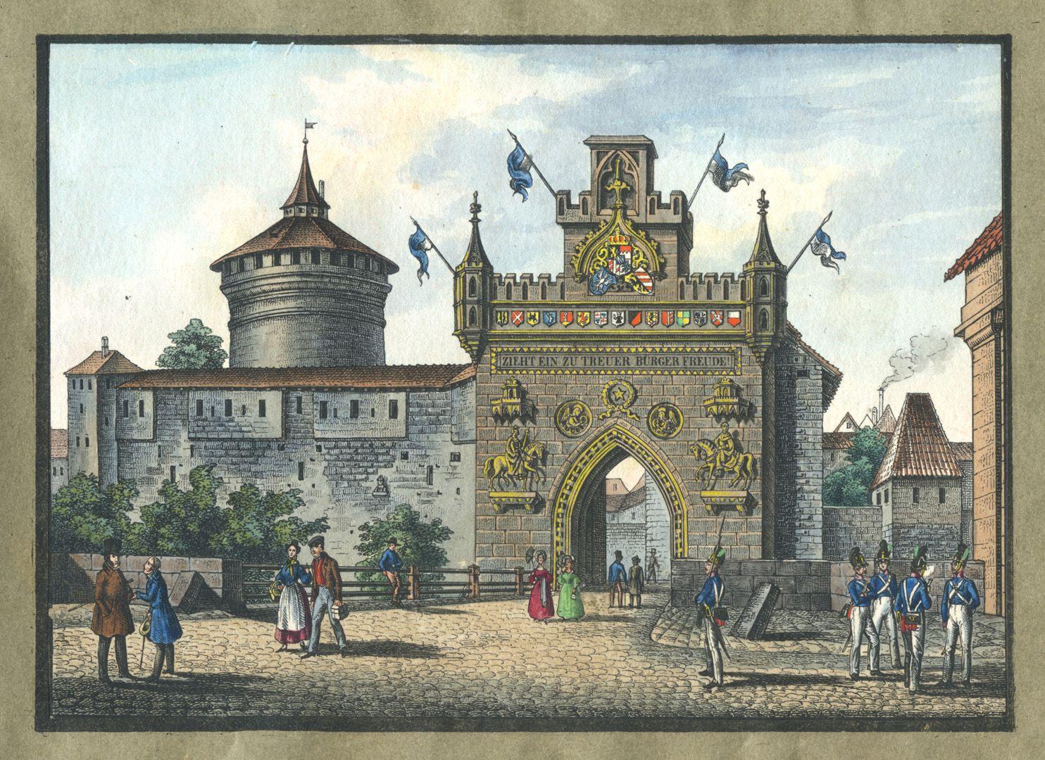 """Ansichten von Nürnberg und seinen Umgebungen """"Ehrenpforte am Spittlerthor in Nürnberg errichtet zum Einzug S.M. des Königs am 6ten Sept. 1840"""""""