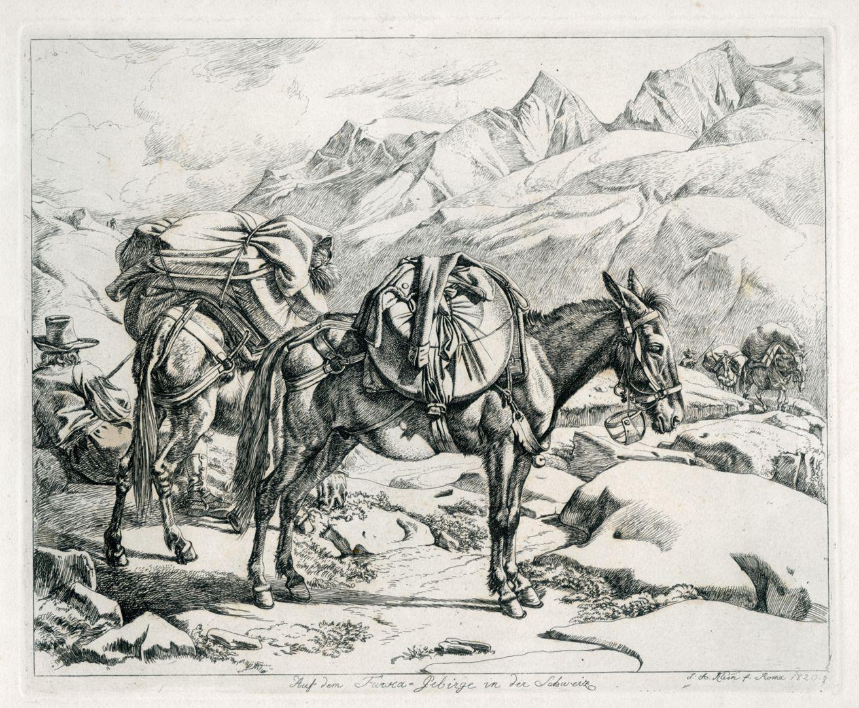 Auf dem Furca - Gebirge in der Schweiz Gesamtansicht