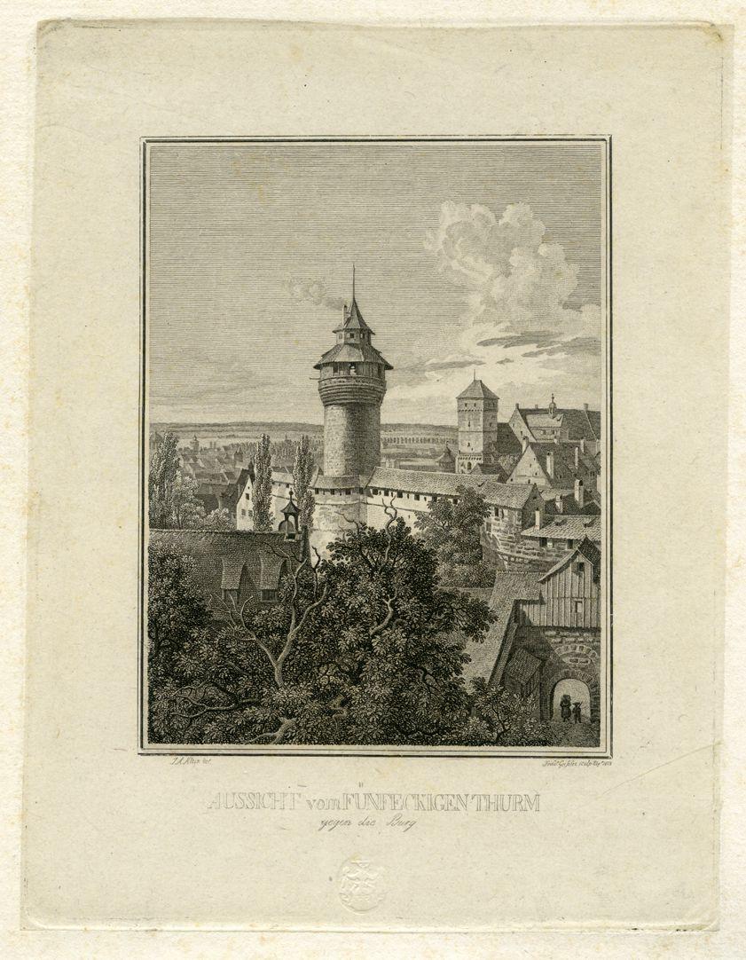 Aussicht vom Fünfeckigen Thurm gegen die Burg Gesamtansicht