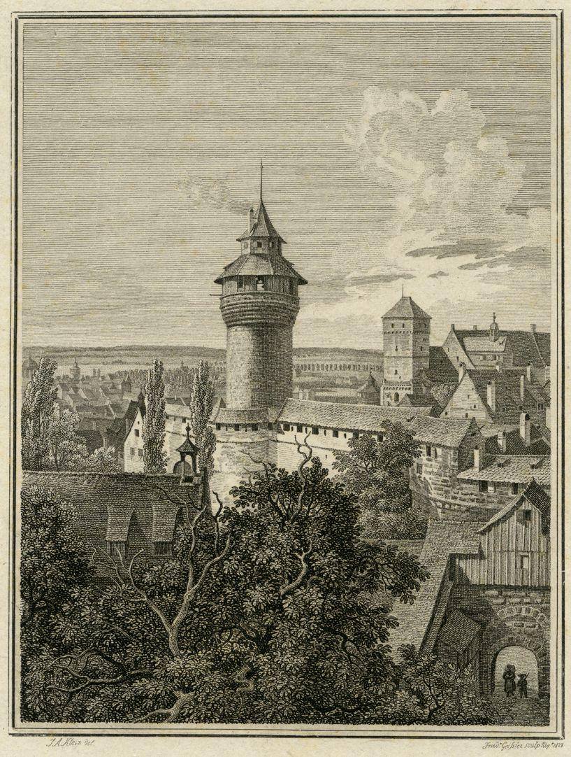 Aussicht vom Fünfeckigen Thurm gegen die Burg Bildausschnitt