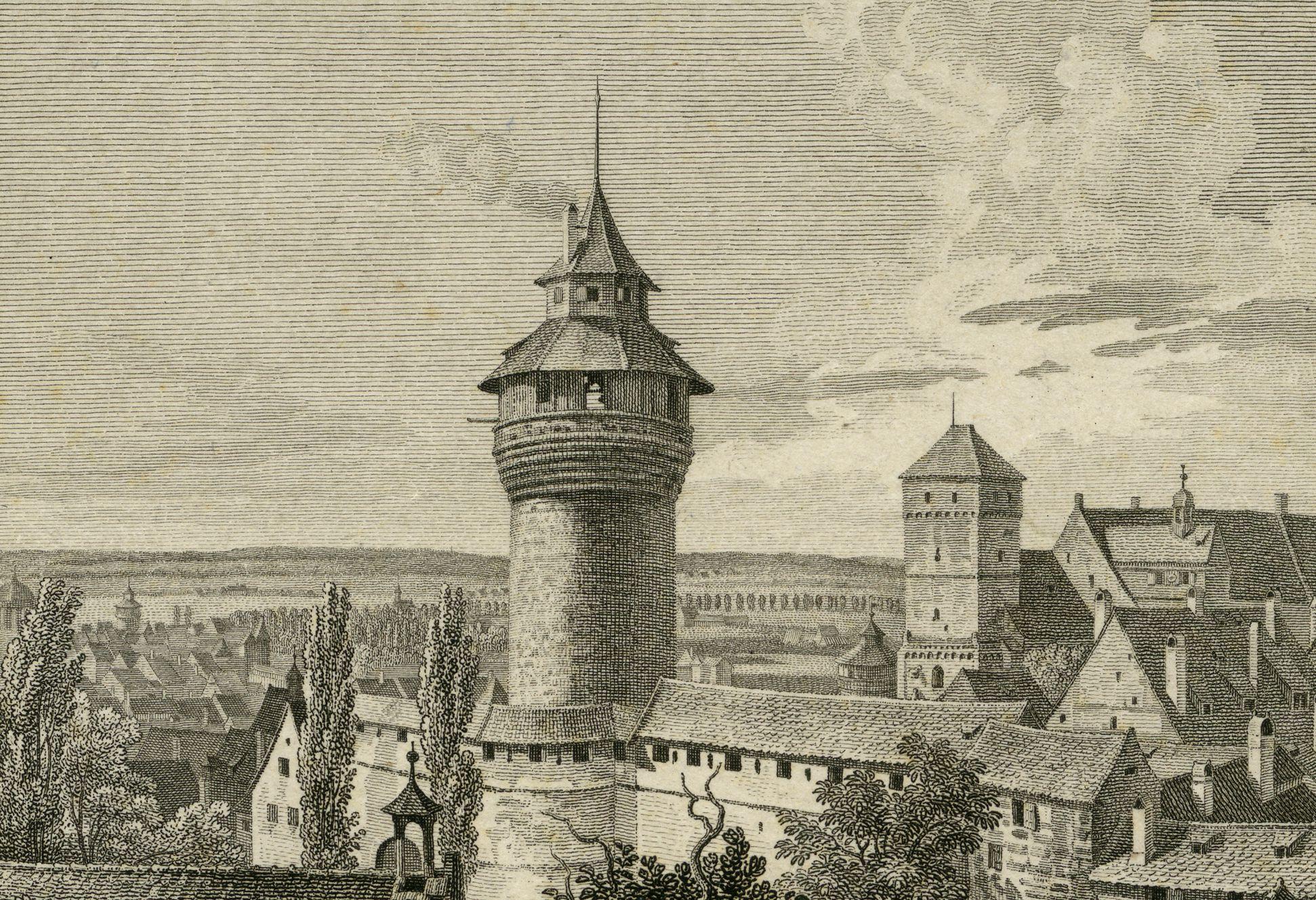 Aussicht vom Fünfeckigen Thurm gegen die Burg obere Bildhälfte