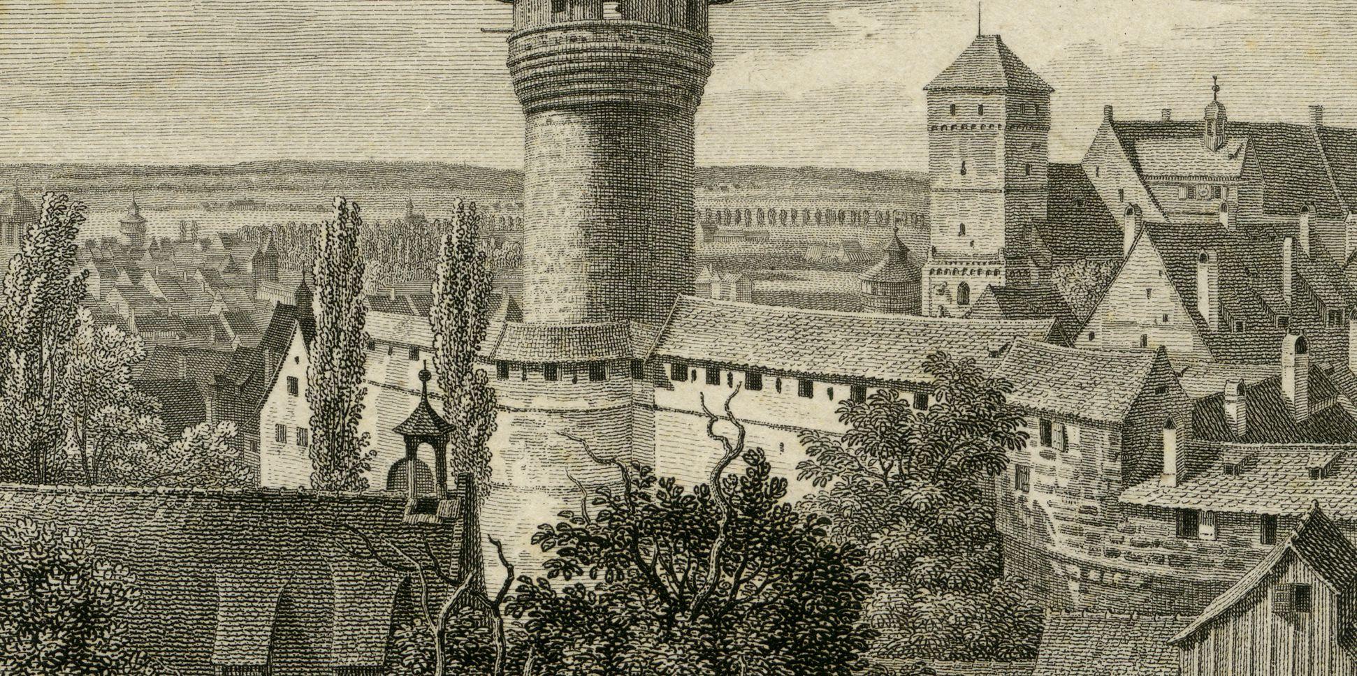 Aussicht vom Fünfeckigen Thurm gegen die Burg mittleres Bildfeld