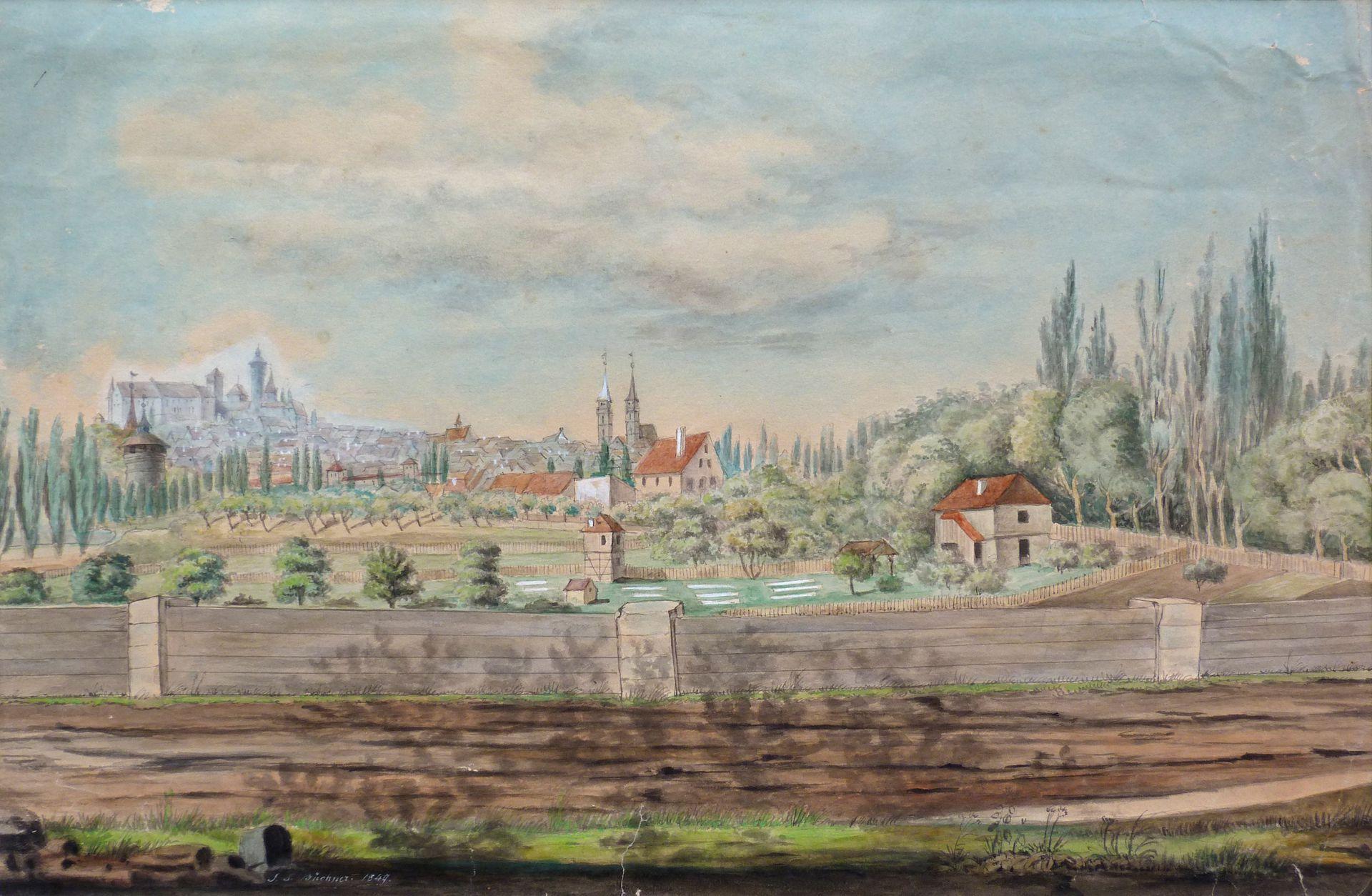 Rosenau mit Blick auf die Burg und die Sebalder Altstadt Gesamtansicht