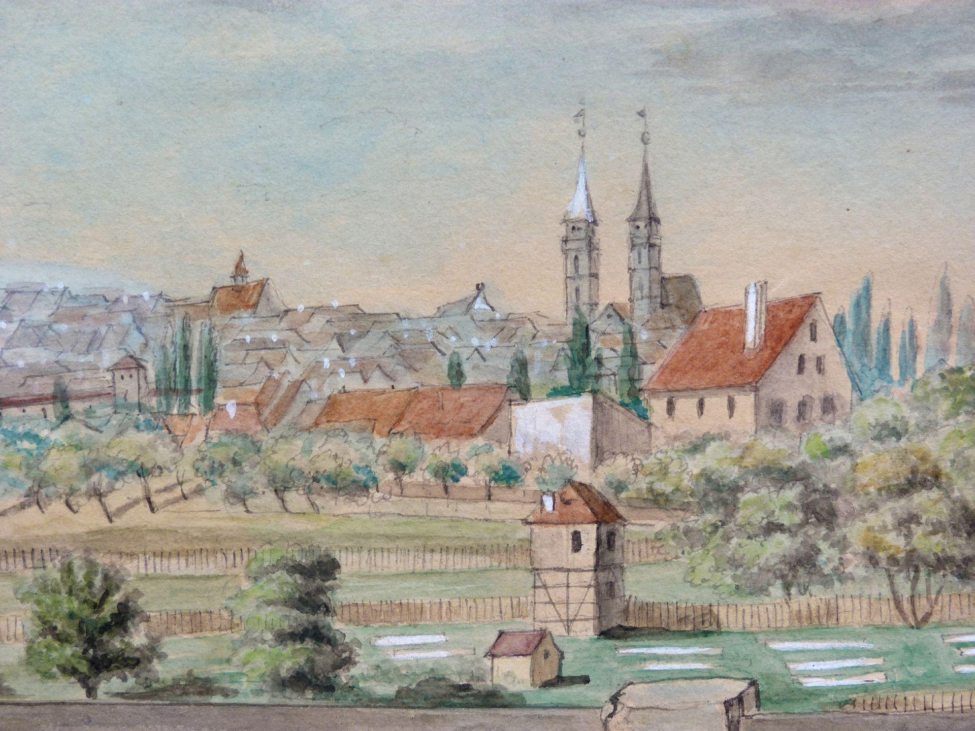 Rosenau mit Blick auf die Burg und die Sebalder Altstadt Blick über Gärten nach St. Sebald