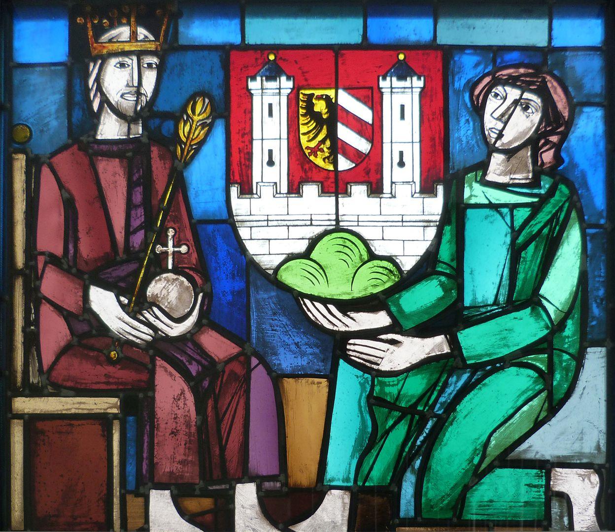 Glasfenster zur Stadtgeschichte Stadtrechtübergabe 1355 durch Karl VI.