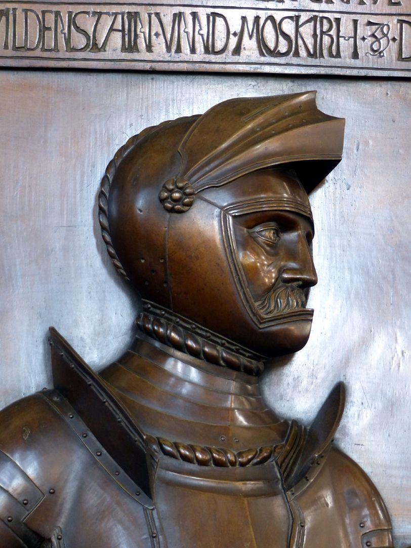 Epitaph des Gottfried Werner Graf von Zimmern (Meßkirch, Baden-Württemberg) Büste des Grafenritters
