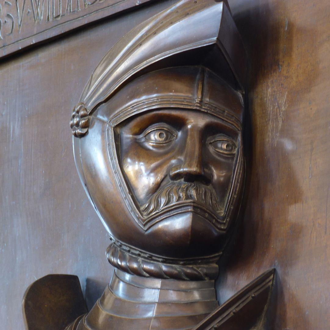 Epitaph des Gottfried Werner Graf von Zimmern (Meßkirch, Baden-Württemberg) Schrägansicht Kopf