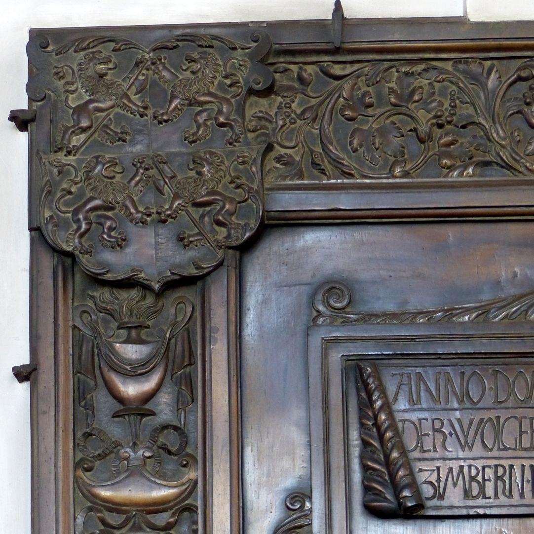 Epitaph des Gottfried Werner Graf von Zimmern (Meßkirch, Baden-Württemberg) linke obere Ecke mit Wappen Zimmern, ohne Helmzier