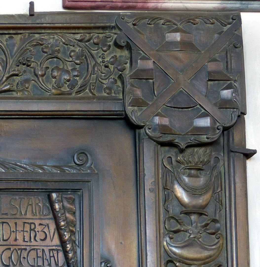 Epitaph des Gottfried Werner Graf von Zimmern (Meßkirch, Baden-Württemberg) rechte obere Plattenecke mit Wappen