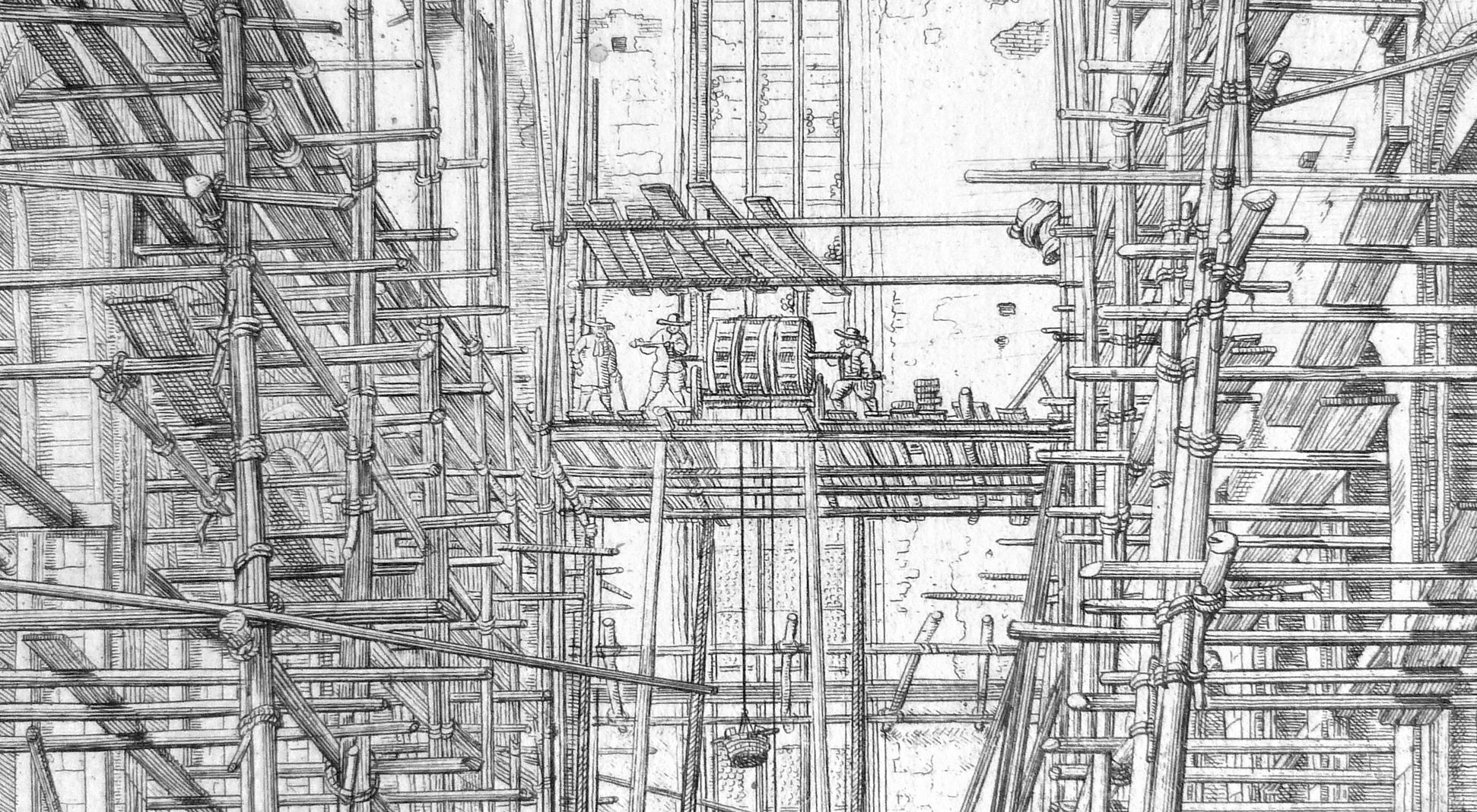"""""""Urbis Norimbergensis Insigniorum Templorum …"""" Barfüßerkirche obere Bildhälfte, Detail"""