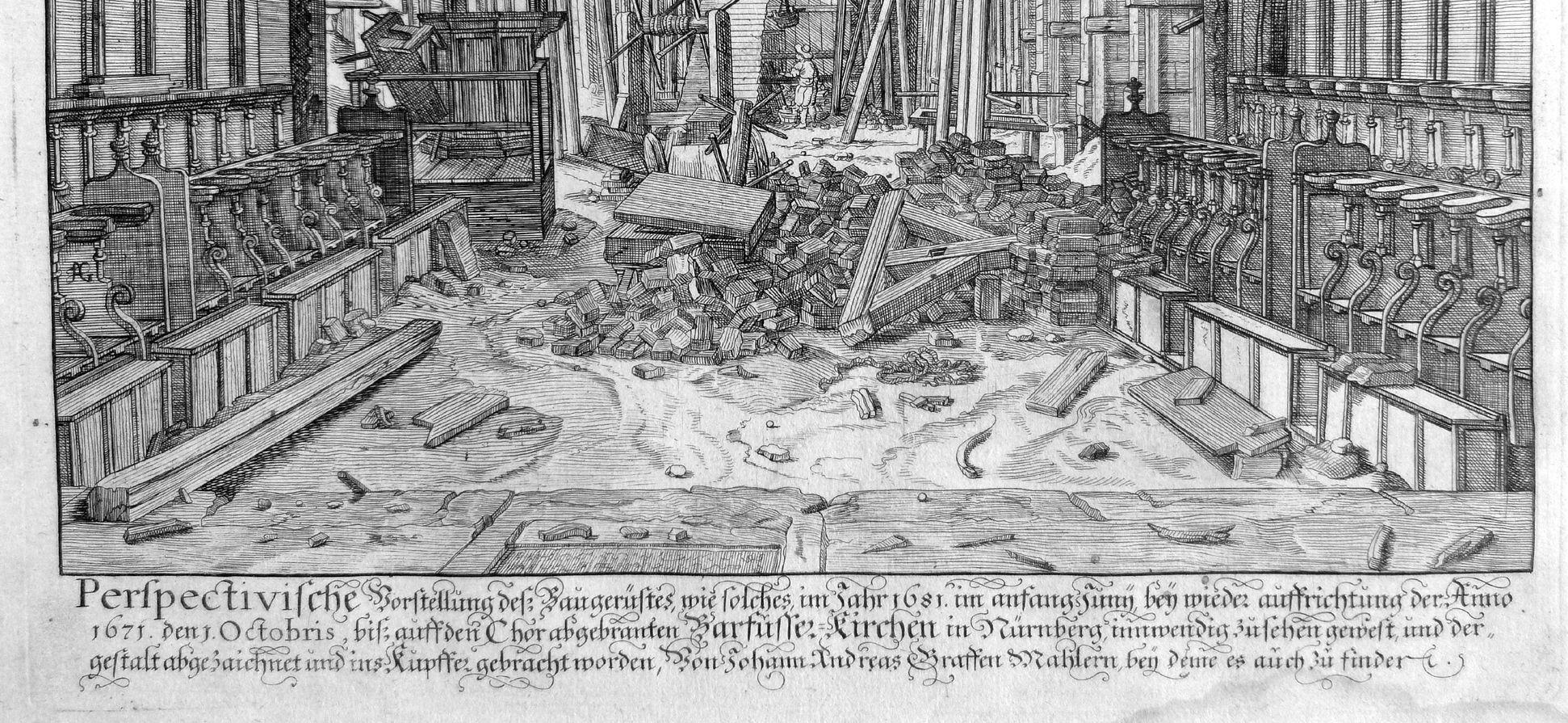 """""""Urbis Norimbergensis Insigniorum Templorum …"""" Barfüßerkirche unteres Bilddrittel mit Beschreibung"""