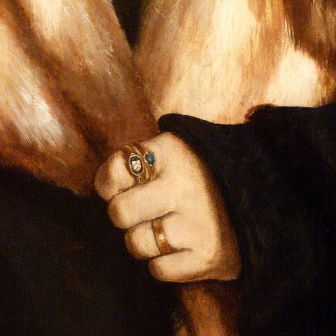 Portrait des Ruprecht Stüpf (Madrid) Detail mit linker Hand und Ringen