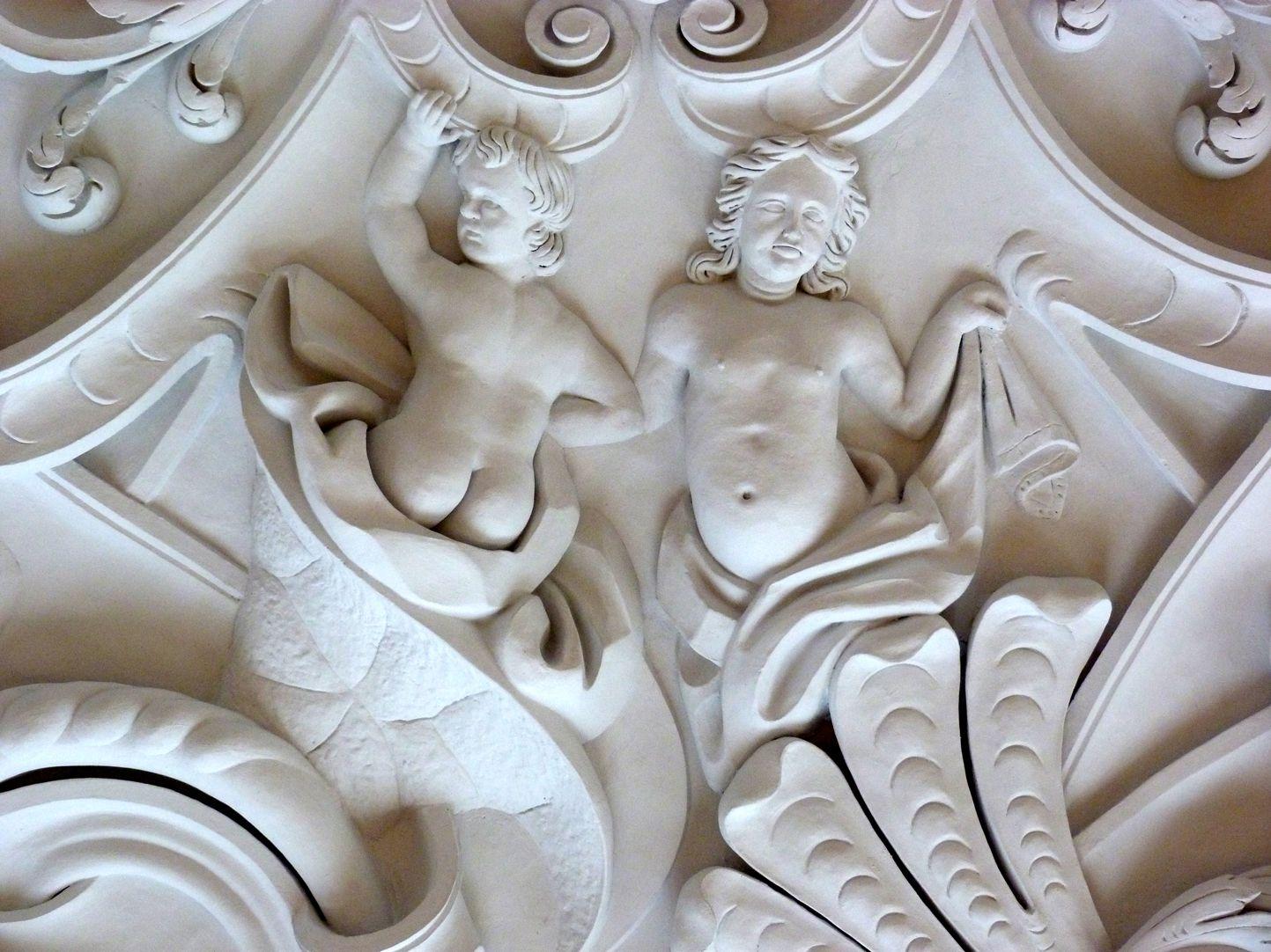 Stuckdecke im Baumeisterhaus Detail aus dem nordwestlichen Deckenviertel