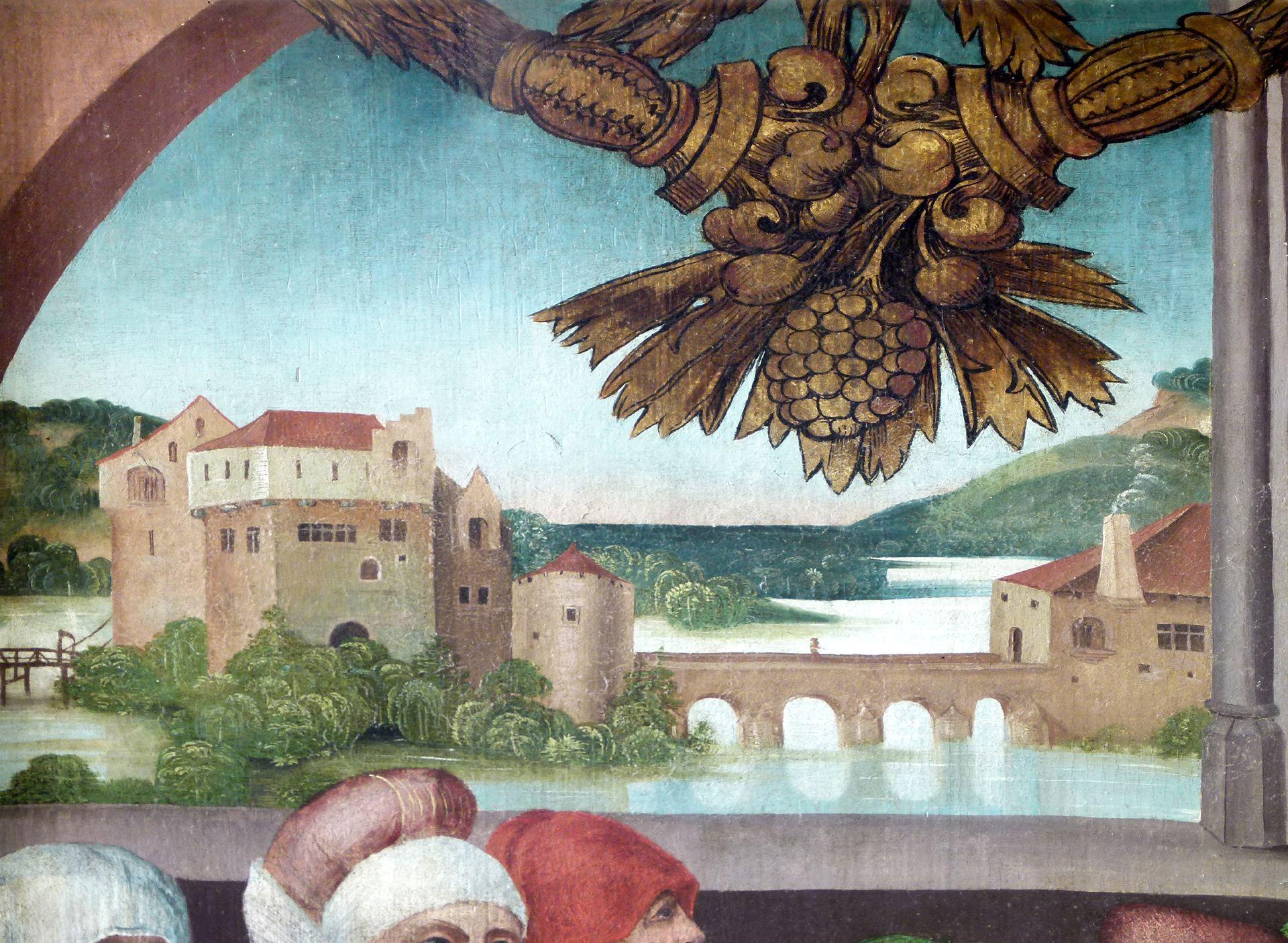 Beerbacher Altar ev. Pfarrkirche, gemalter rechter Seitenflügel, Darbringung im Tempel, Burgdarstellung im Hintergrund