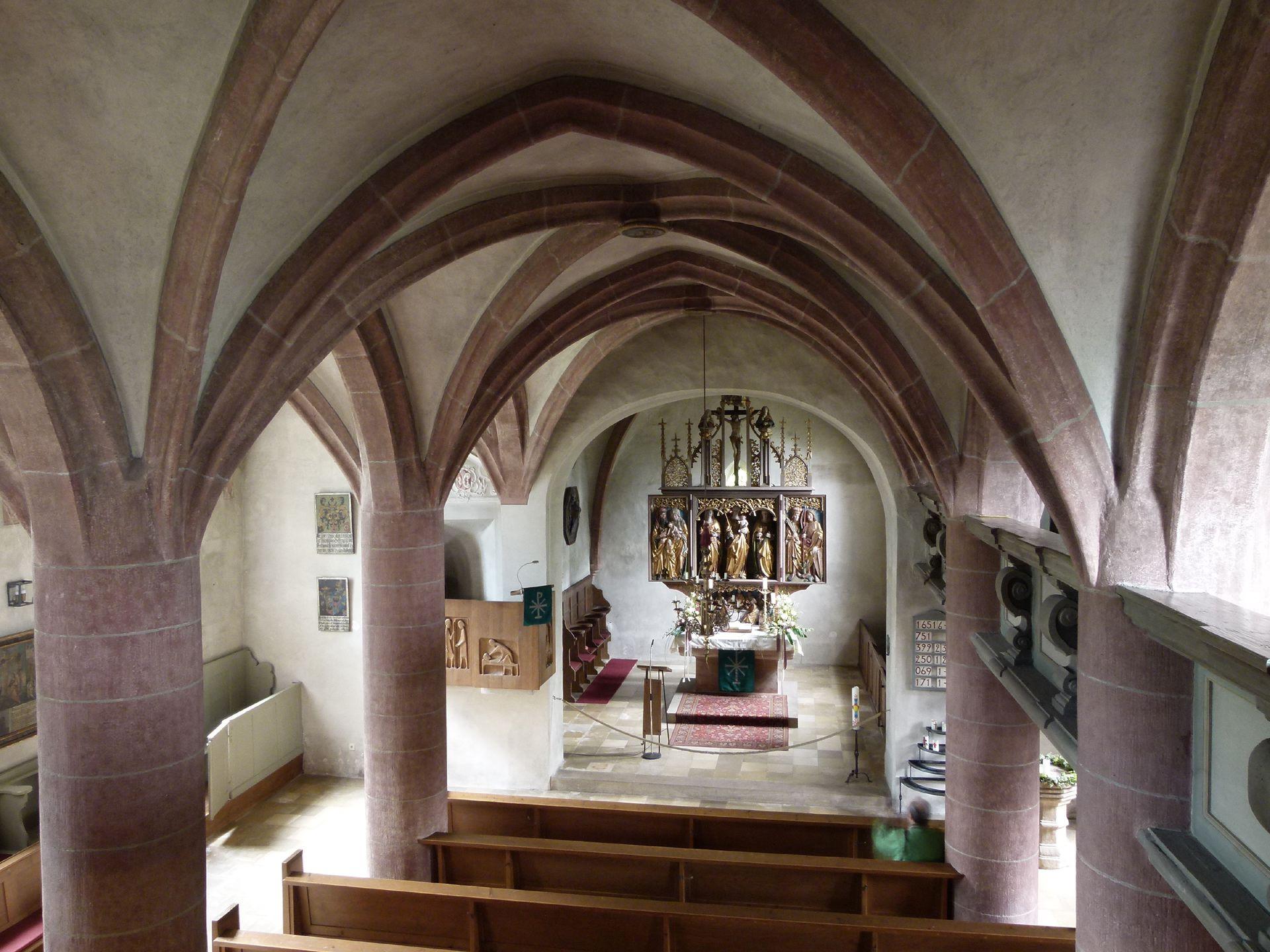 Beerbacher Altar ev. Pfarrkirche, Innenraum nach Osten