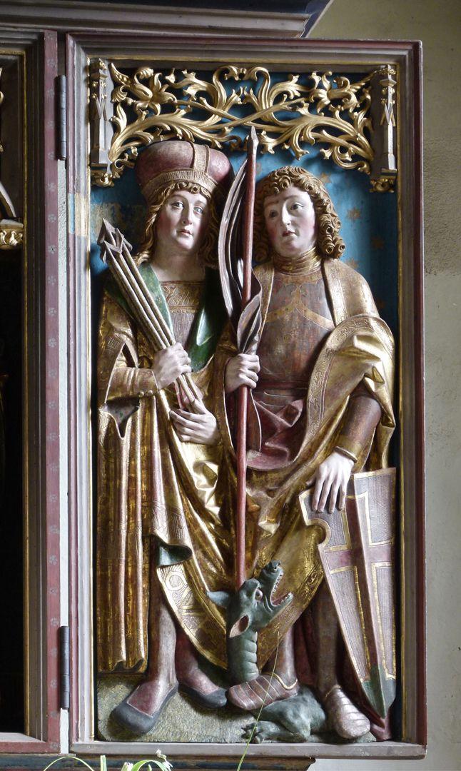 Beerbacher Altar ev. Pfarrkirche, rechter Seitenflügel, hl. Georg und hl. Sebastian