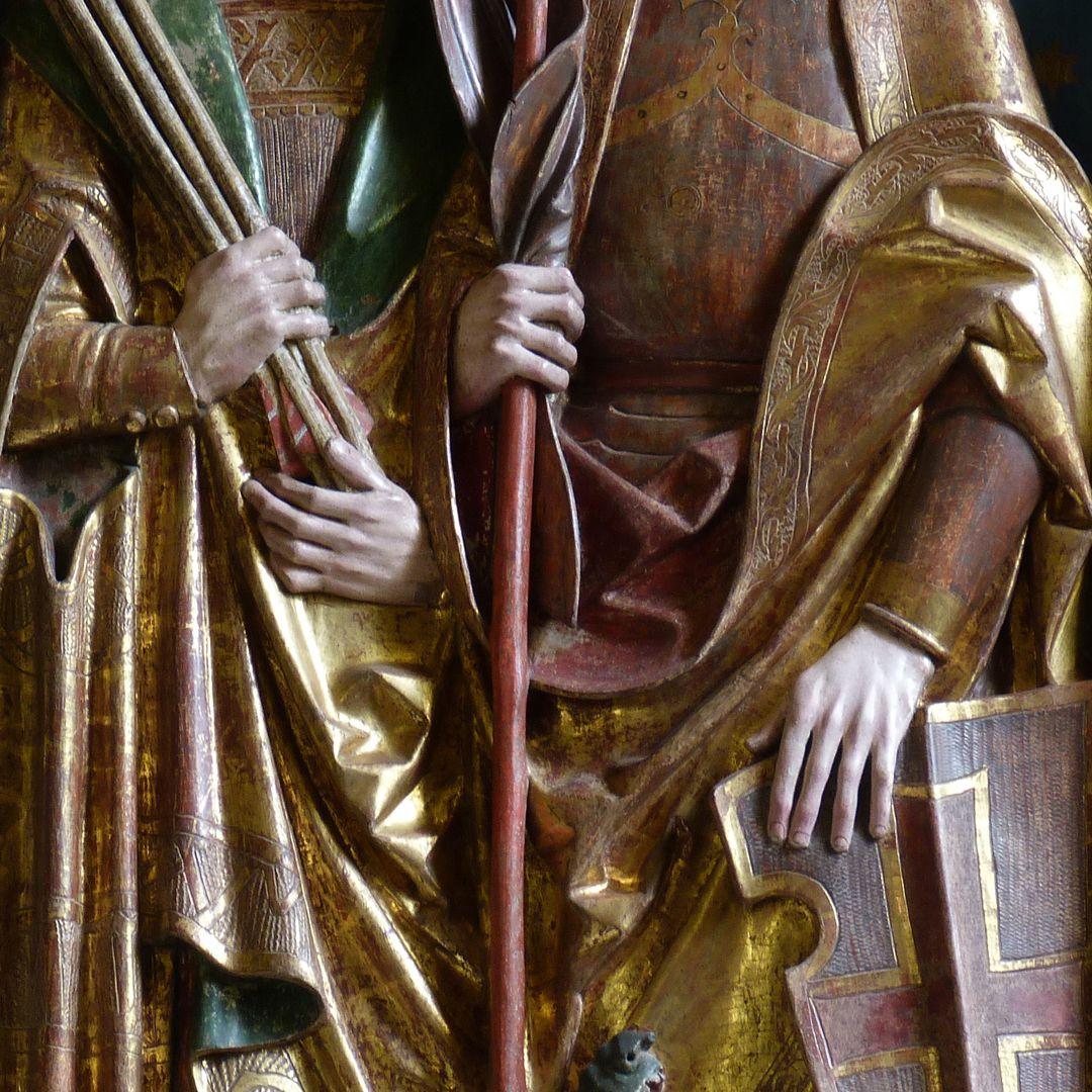 Beerbacher Altar ev. Pfarrkirche, rechter Seitenflügel, hl. Georg und hl. Sebastian, Detail