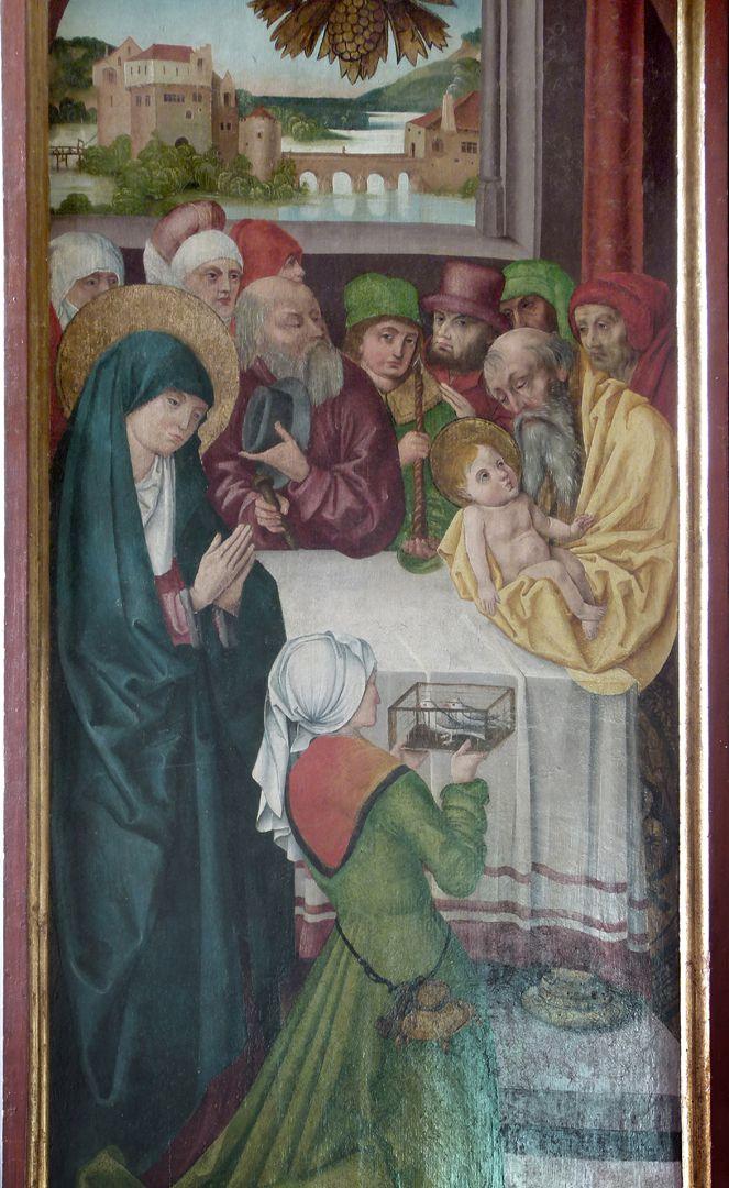 Beerbacher Altar ev. Pfarrkirche, gemalter rechter Seitenflügel, Darbringung im Tempel