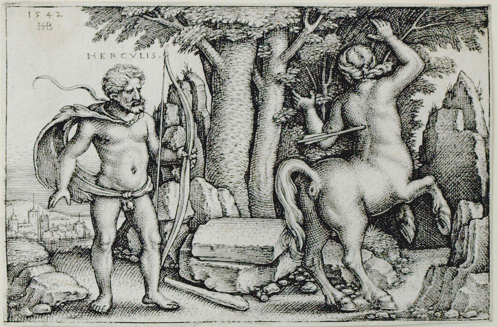 Die Taten des Hercules Hercules tötet Nessus 1542, 50 x 78 mm