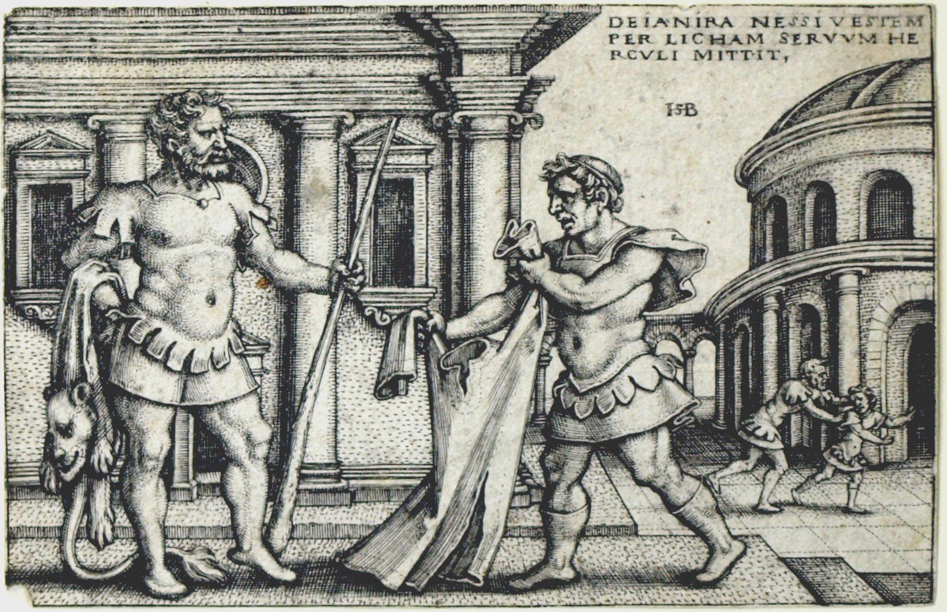 Die Taten des Hercules Dejanira schickt Hercules das Gewand des Nessus durch den Sklaven Lichas, 53 x 78 mm