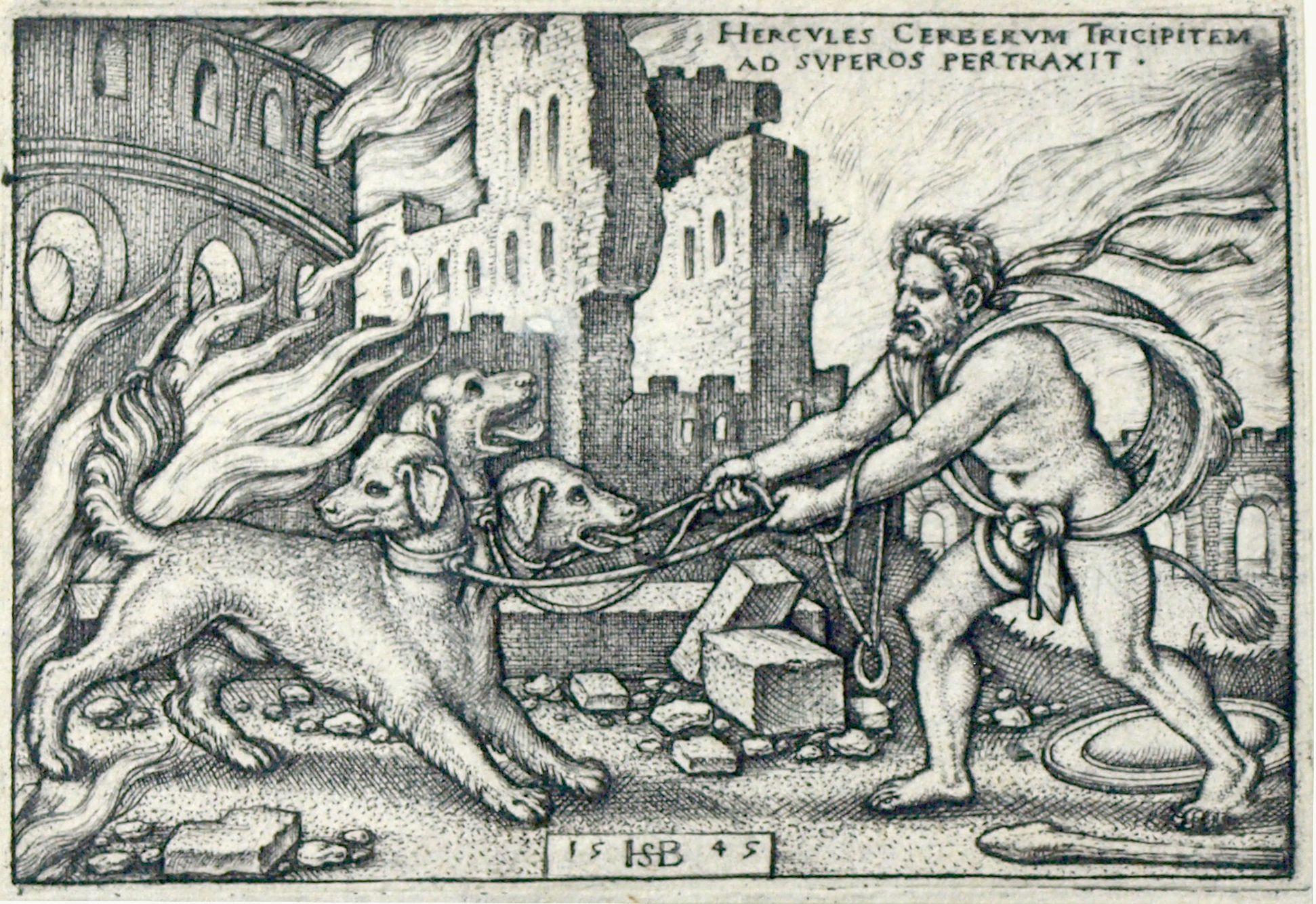 Die Taten des Hercules Hercules hat den dreiköpfigen Cerberus in die Oberwelt geschleppt, 1545, 52 x 77 mm