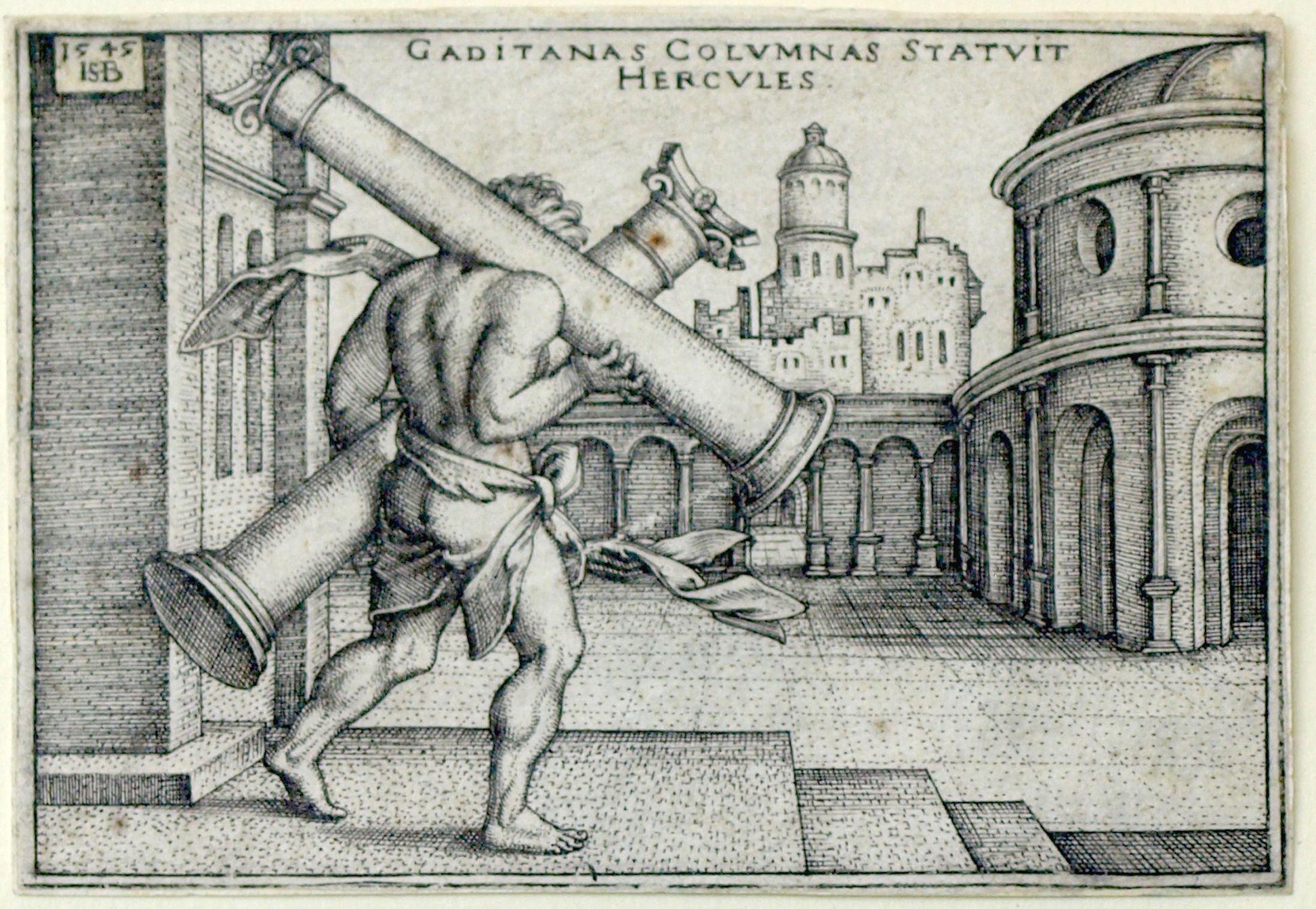 Die Taten des Hercules Hercules stellt die Säulen von Gades auf, 1545, 48 x 70 mm