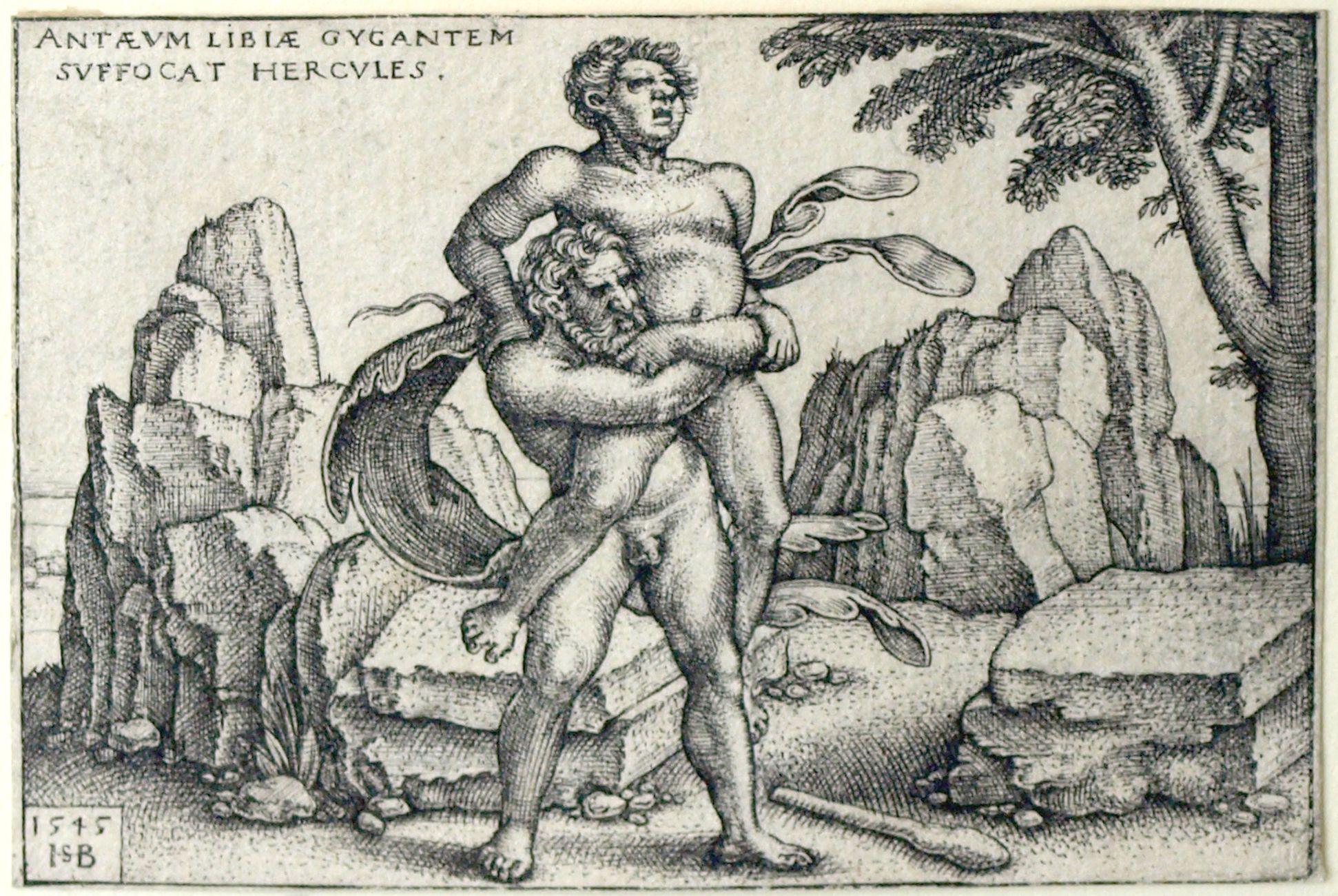 Die Taten des Hercules Hercules erwürgt den Riesen Antaeus von Libyen, 48 x 70 mm